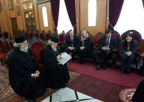 Ministrul Turismului, doamna Elena Kountoura, la Patriarhie
