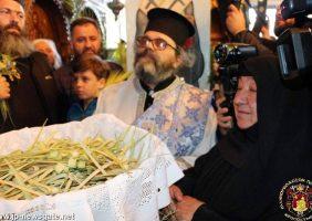 Stareța de la Betfaghe, Maica Savvina, oferind ramuri de finic