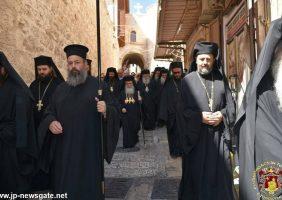 Coborârea Frăției Sfântului Mormânt pe strada Patriarhiei