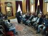 Membri ai comunității din Reineh în timpul vizitei lor festive la Patriarhie